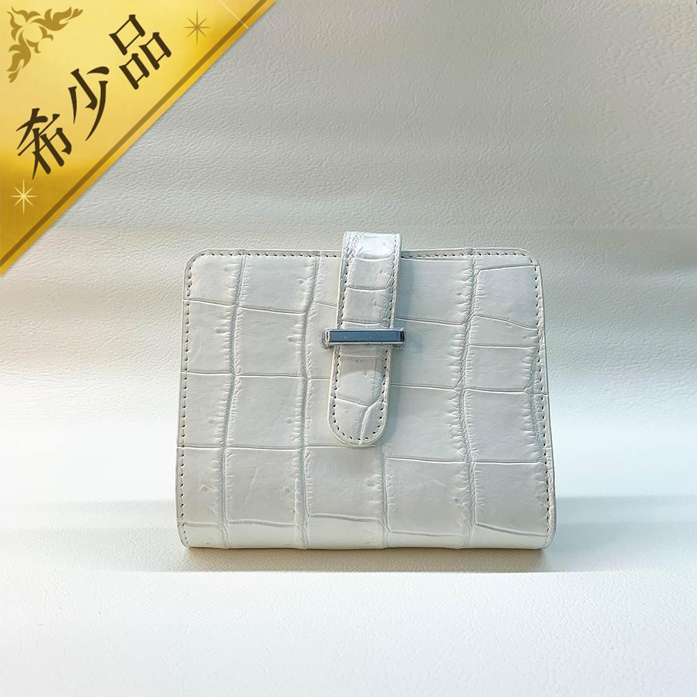 ホワイトレザー短財布