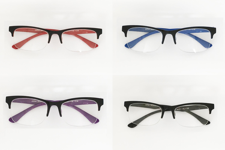 老眼鏡 リーディンググラス おしゃれ レディース メンズ ハーフリム カラフル 老眼鏡に見えない 度数 視力回復 デザイン フレーム