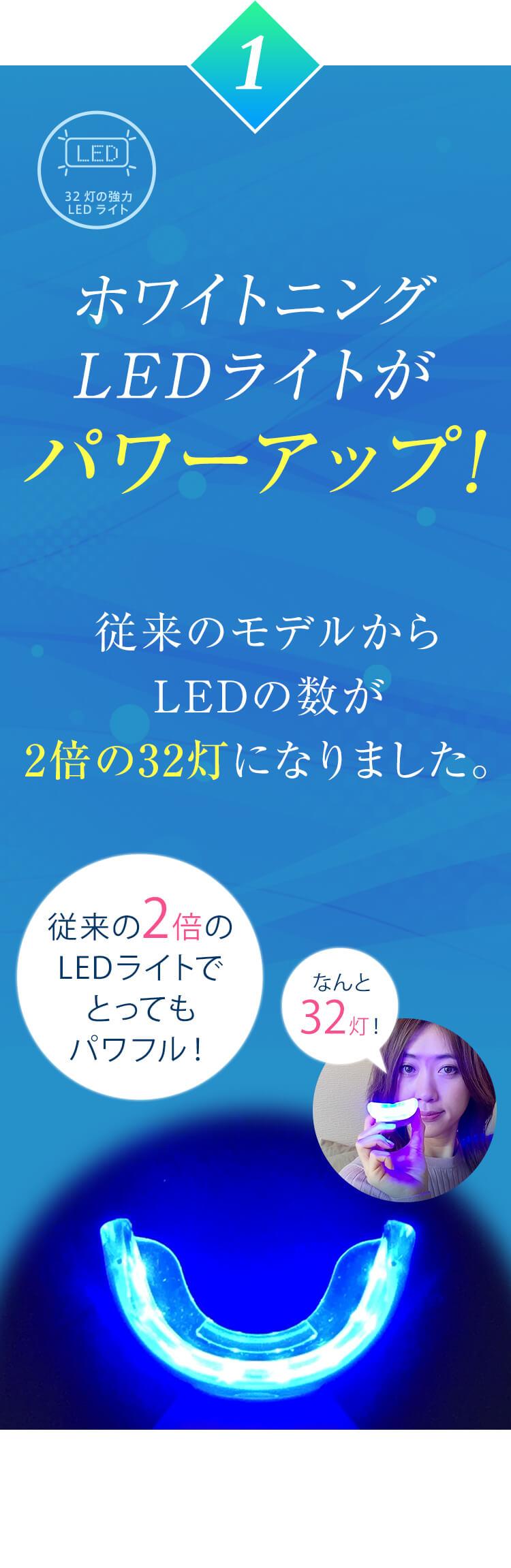 (1)ホワイトニングLEDライトがパワーアップ!従来のモデルからLEDの数が2倍の32灯になりました。