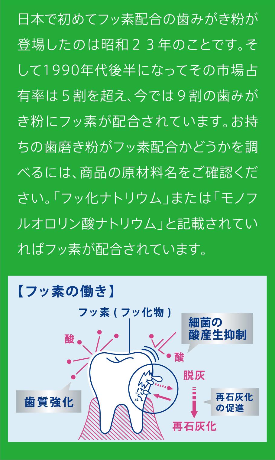 日本で初めてフッ素配合の歯みがき粉が登場したのは昭和23年のことです。そして1990年代後半になってその市場占有率は5割を超え、今では9割の歯みがき粉にフッ素が配合されています。お持ちの歯磨き粉がフッ素配合かどうかを調べるには、商品の原材料名をご確認ください。「フッ化ナトリウム」または「モノフルオロリン酸ナトリウム」と記載されていればフッ素が配合されています。